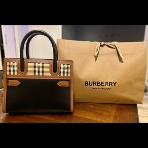 Mini Leather & Vintage Check Two-Handle Title Bag